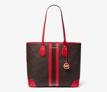 MK Shopper Eva Large Mit Logo Und Streifen - Brn/dunkelrot(Rot) - Michael Kors