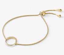 Armband aus Sterlingsilber mit 14-Karätiger Goldbeschichtung mit Kreisförmigem Anhänger und Schiebeknoten