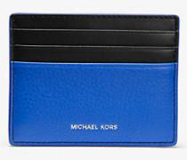 MK Kartenetui Greyson Tall Aus Zweifarbigem Gekrispeltem Leder - Pop Blue/blk - Michael Kors