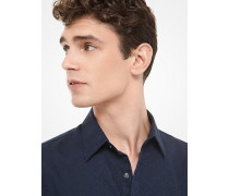 Slim-Fit-Hemd aus Baumwolle mit Kors-Schriftzug aus Jacquard