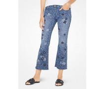Knöchellange Jeans mit Blumenstickereien