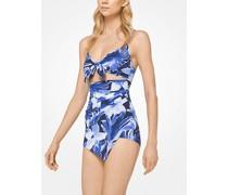 Drapierter Badeanzug mit Blumenmuster und Aussparung