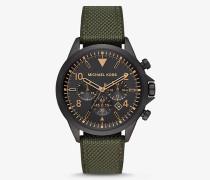 MK Übergroße Armbanduhr Gage In Schwarz Mit Gewebtem Armband  - Olivgrün(Grün) - Michael Kors