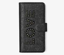 Handyhülle Zum Aufklappen aus Leder in Metallic-Optik mit Love-Schriftzug für Samsungs8