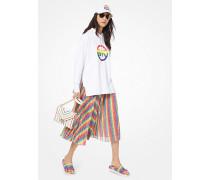 Kapuzenpullover aus Baumwoll-Frottee mit Logo in Regenbogenfarben