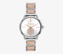 Zweifarbige Armbanduhr Portia mit Pave-Fassung