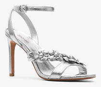 Sandale Tricia aus Leder in Metallic-Optik mit Blumenapplikationen