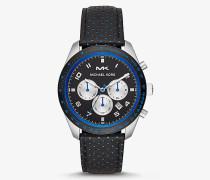 Übergroße Armbanduhr Keaton im Silberton mit Perforiertem Lederarmband