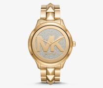 Übergroße Armbanduhr Runway Mercer im Goldton mit Pave-Besatz und Logo