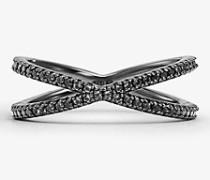 Nesting-Ring aus Sterlingsilber mit Schwarzer Rhodium-Beschichtung und Pave-Fassung