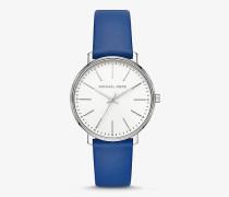 Armbanduhr Pyper im Silberton mit Lederarmband