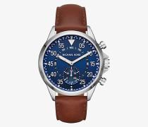 Hybrid-Smartwatch Gage im Silberton mit Lederarmband