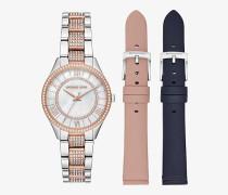Zweifarbige Armbanduhr Mini Lauryn mit Pave-Fassung im Set