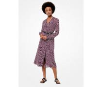 Hemdkleid aus Georgette mit Geometrischem Muster und Gürtel