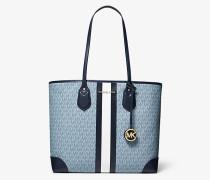 MK Shopper Eva Large Mit Logo Und Streifen - Blassblau/navyblau(Blau) - Michael Kors