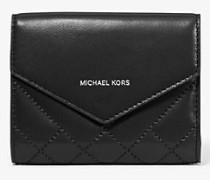 Kleine Brieftasche aus Gestepptem Leder mit Umschlag