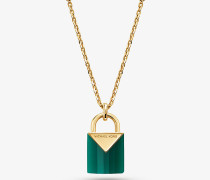Halskette aus Sterlingsilber mit 14-Karätiger Goldbeschichtung und Schlossanhänger