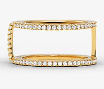 Ring mit Stecksystem aus Sterlingsilber mit Edelmetallbeschichtung und Pave-Fassung