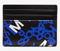 MK Kartenetui Brooklyn Tall Aus Quer Genarbtem Leder Mit Grafischem Logomuster - Blck/pop Blu - Michael Kors