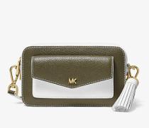 Kleine Kameratasche aus Zweifarbigem Gekrispeltem Leder