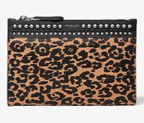 Pochette Bancroft aus Kalbshaar mit Leopardenmuster