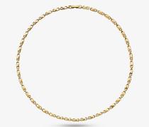 Schmale Halskette Mercer Link aus Sterlingsilber mit Edelmetallbeschichtung
