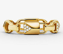 MK Ring Mercer Link Aus Sterlingsilber Mit Edelmetallbeschichtung Und Pavé-Fassung - Goldton(Goldton) - Michael Kors