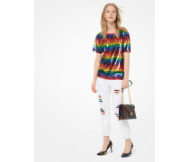 T-Shirt Aus Baumwoll-Jersey Mit Pailletten In Regenbogenfarben