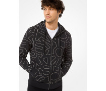 Kapuzenpullover aus Baumwollmischgewebe mit Reißverschluss und Grafischem Logomuster