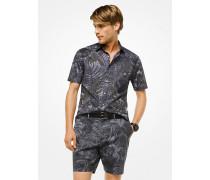 Slim-Fit-Hemd aus Baumwolle mit Blättermuster