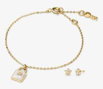 Armband und Ohrringe aus Sterlingsilber mit 14-Karätiger Goldbeschichtung im Set