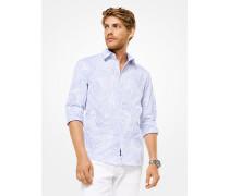 Slim-Fit-Hemd aus Jacquard mit Streifen und Palmenmotiv