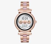 Smartwatch Sofie im Rose-Goldton mit Pave-Fassung und Azetatdetails