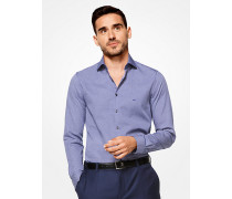 Slim-Fit-Hemd aus Baumwolle mit Rautenmuster