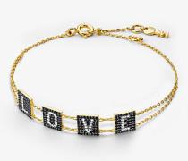 Armband aus Sterlingsilber mit 14-Karätiger Goldbeschichtung und Love-Schriftzug mit Pave-Fassung