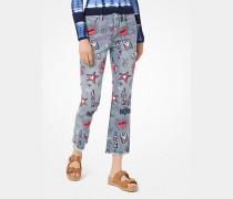 Knöchellange Jeans mit Stickereien
