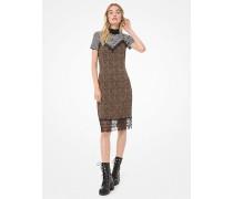 Slip-Kleid aus Dichtem Stretch-Jersey mit Mini-Leopardenmuster