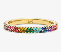 Pave-Ring aus Sterlingsilber mit 14-Karätiger Goldbeschichtung und Regenbogenfarbenen Edelsteinen