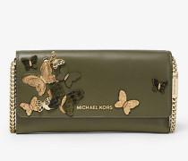 Große Wandelbare Brieftasche aus Leder mit Kette und Schmetterlingsverzierungen