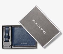 MK Brieftasche Aus Quer Genarbtem Leder Mit Schlüsselanhänger - Navyblau(Blau) - Michael Kors