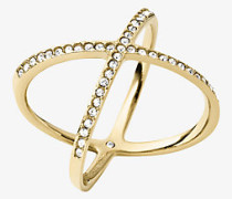 Ring im Goldton mit Pave-Fassung