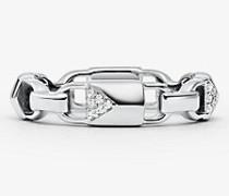 Ring Mercer Link aus Sterlingsilber mit Edelmetallbeschichtung und Pave-Fassung