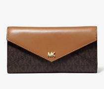 Große Brieftasche aus Logostoff und Leder mit Umschlag
