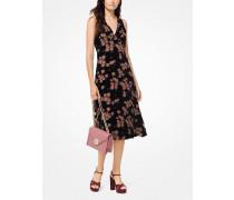 Kleid aus Devore-Samt mit Rosenmuster