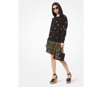 Sweatshirt aus Baumwoll-Frottee mit Schmetterlingsstickerei