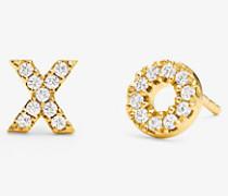 """Ohrstecker in """"xo-Form aus Sterlingsilber mit 14-Karätiger Goldbeschichtung und Pave-Fassung"""