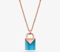 Halskette aus Sterlingsilber mit 14-Karätiger Rose-Goldbeschichtung und Schlossanhänger