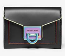 Brieftasche Manhattan Small aus Leder mit Besatz in Kontrastfarbe