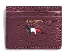 Tricolor Card Holder Leather Burgundy