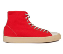 Men Fabric Rubber Sole High Top Rosso